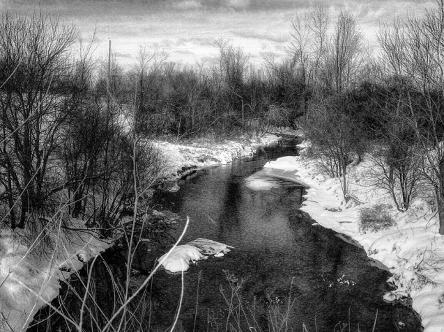 winter stream black and white